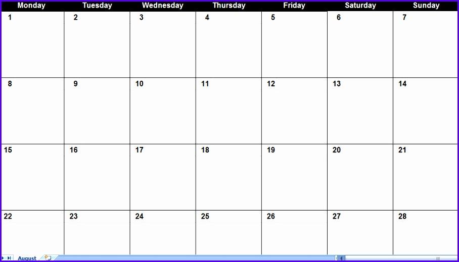 Excel Calendar Template 908519