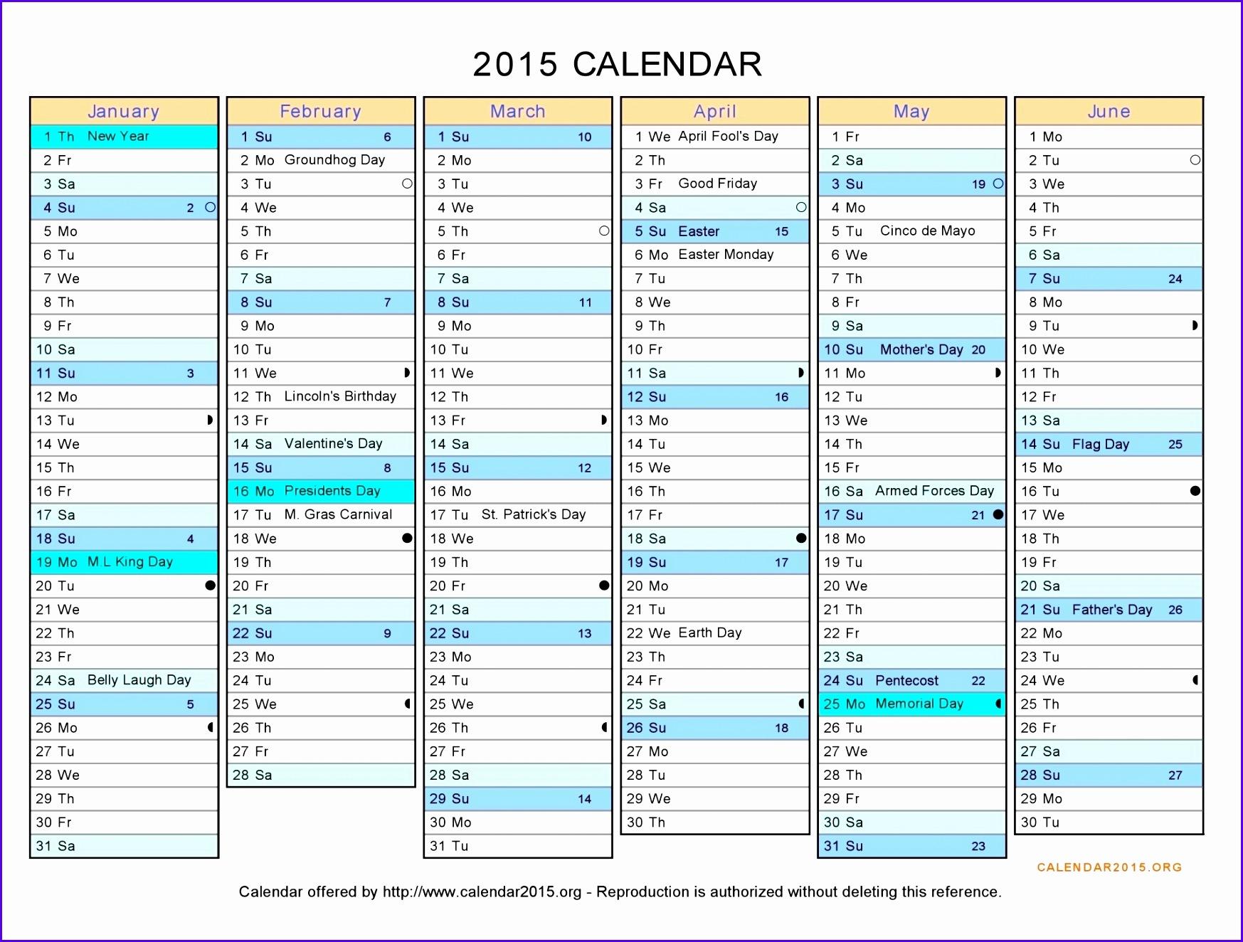 2015 calendar excel
