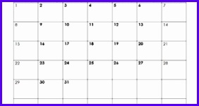 Blank Calendar Template 282151
