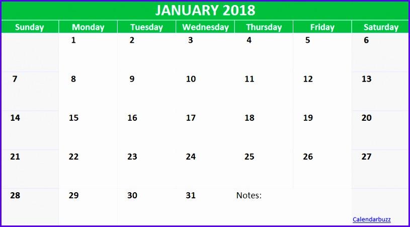 January 2018 Excel Calendar Template