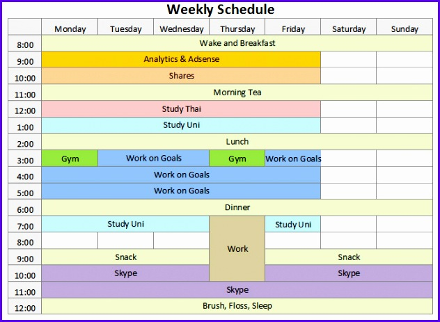 9 Weekly Schedule Templates Excel Templates 632463