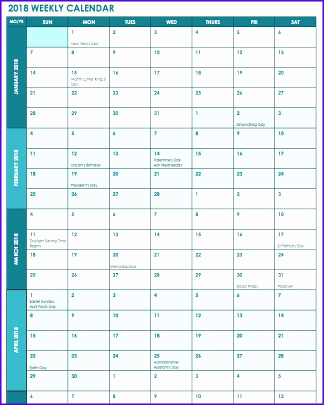 2018 Weekly Calendar with US Holidays Template 648810