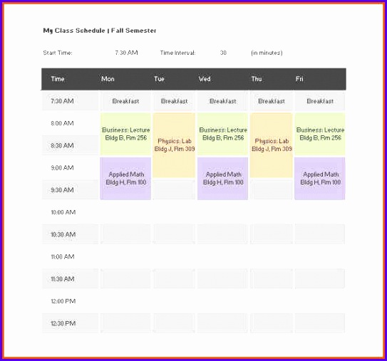 college schedule template free class schedule template 543507