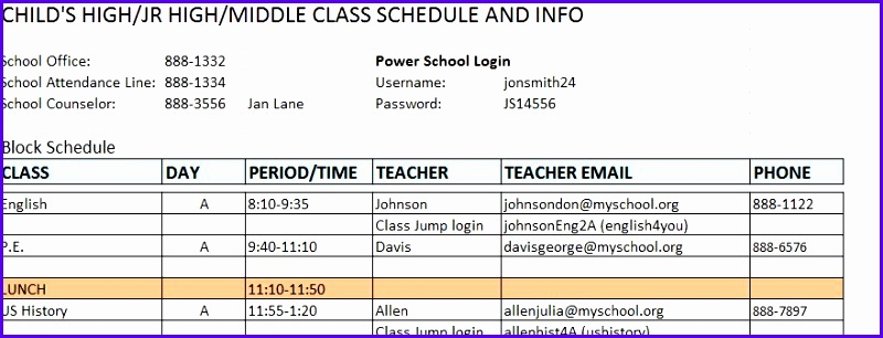 High School Class Schedule Template Image Gallery Hcpr 800306