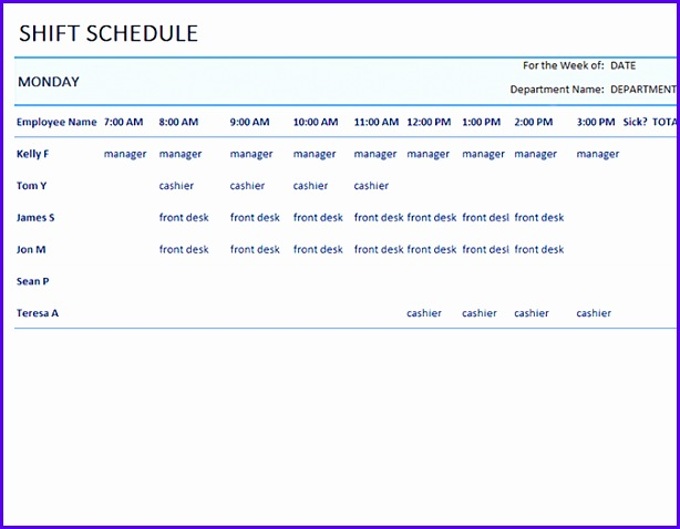 Weekly employee shift schedule 614478