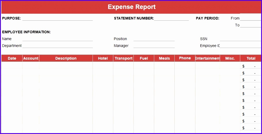 Expense Report Excel Template 909467