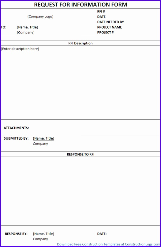 RFI Form Free Download 526805