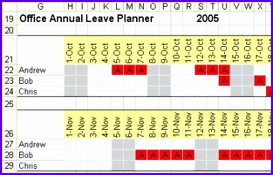 A report showing the holiday dates booked by office staff 397255