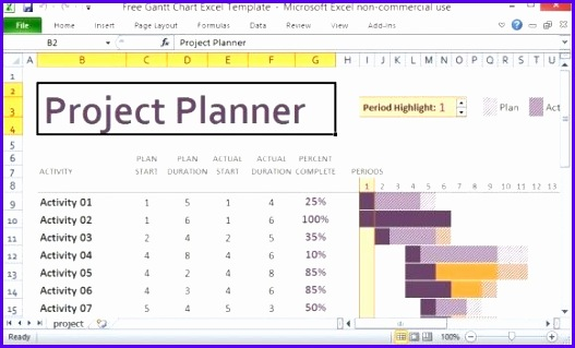 Free Gantt Chart Excel Template intended for Project Plan Template Excel Free Download 527319