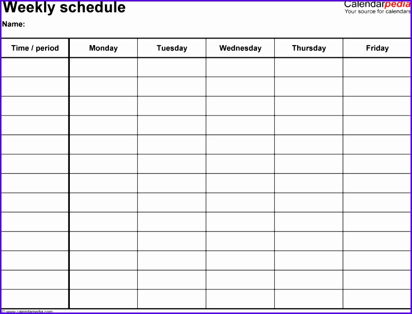 Weekly schedule template for Excel version 2 landscape 1 page Monday to Friday 832635