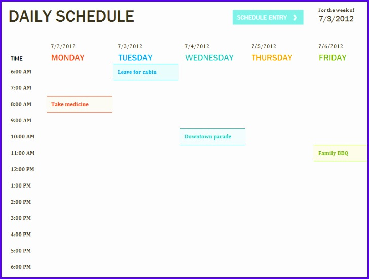Daily Schedule Excel Template 728552