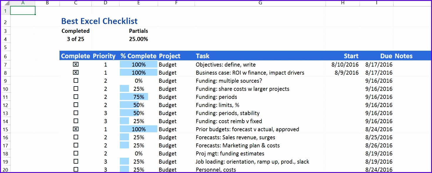 The Best Excel Checklist uses no Visual Basic but has a great set of features 1474590