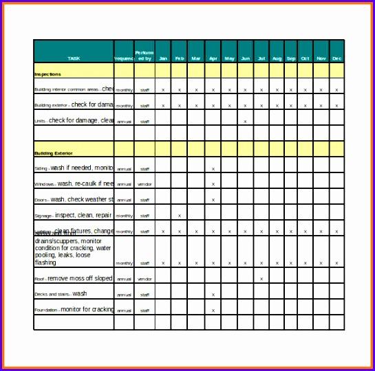 checklist template excel routine maintenance schedule and checklist