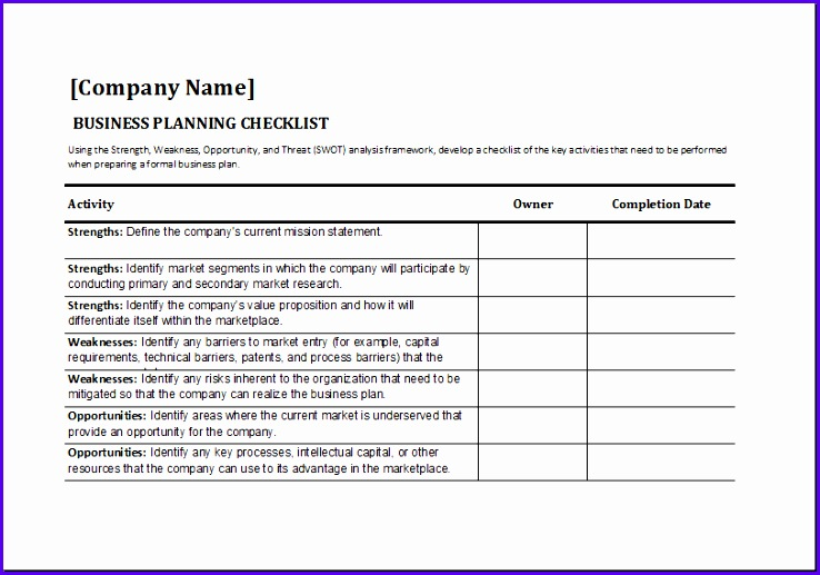 Business Planning Checklist Template