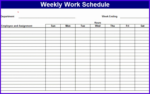 Employee Weekly Work Schedule Template 500314