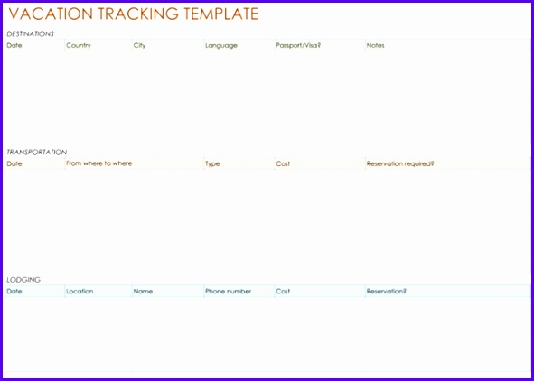 Vacation Tracking Template 591422