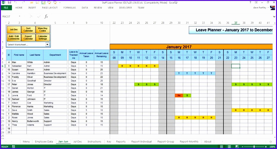 Templates Xlsx The Staff Leave Calendar A Simple Excel Planner To Manage Staff 931502