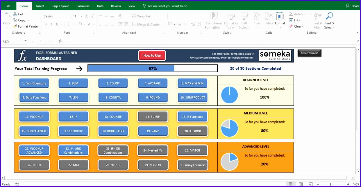 Excel Test Interactive Excel Training with Questions Template Screenshot Image 5 Someka 1242644