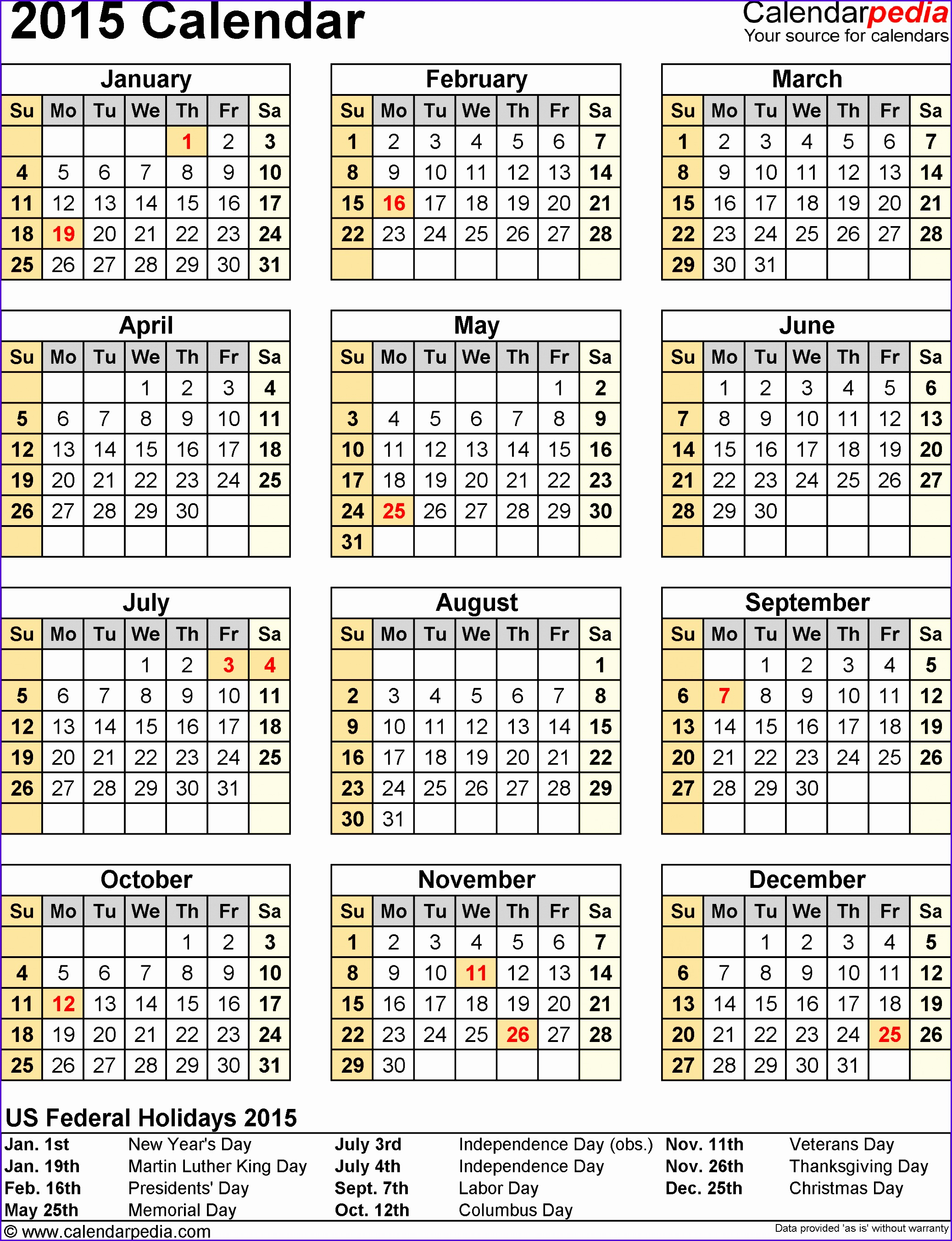 6 excel yearly calendar template 2014 exceltemplates for Yearly vacation calendar template