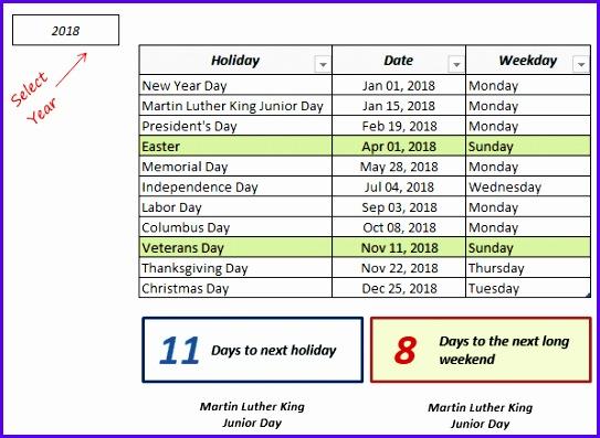 Excel Holiday Calendar List Template Demo 543397