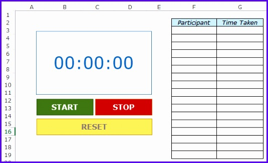 Free Excel Template Download Stopwatch in Excel Demo 535327