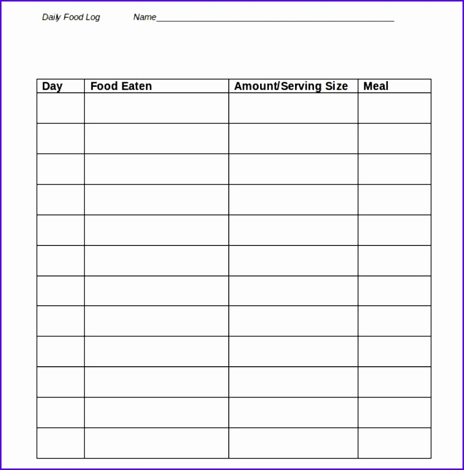 Food Journal Templates Format For Receipt 931942