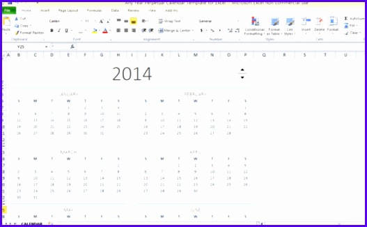 Any Year Perpetual Calendar Template For Excel 527326