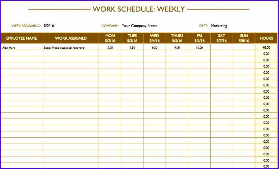 This simple weekly work schedule template has a column for employee names and assignments followed by columns for each day of the week including weekends 898545