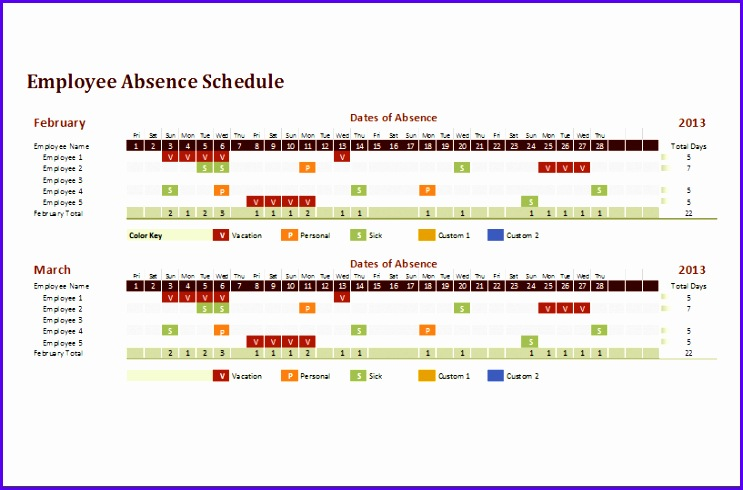 employee absence schedule template 743490