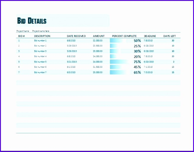 Ms Excel Project Bid Tracking Template 657514