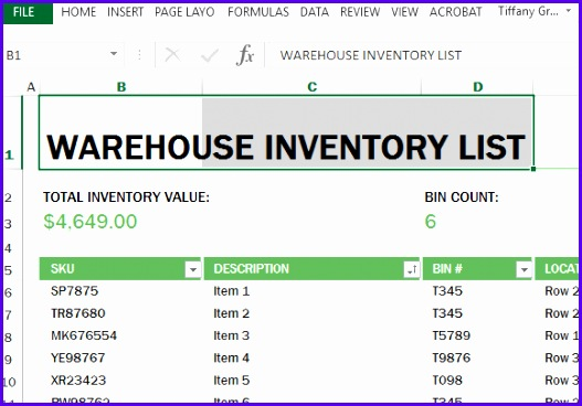 easy reliable and convenient warehouse inventory template in excel 527368