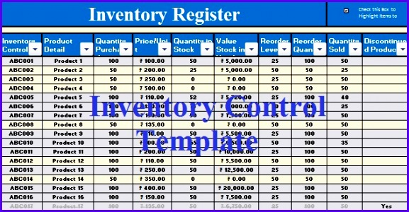 Download Inventory Control Excel Template 577300