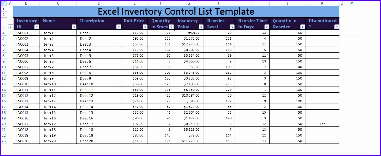 Excel Inventory Control List Template XLS 1227504