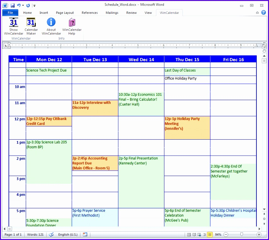 9 Microsoft Excel Schedule Template