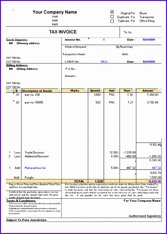 Tax Invoice Template Excel Free Download 532748