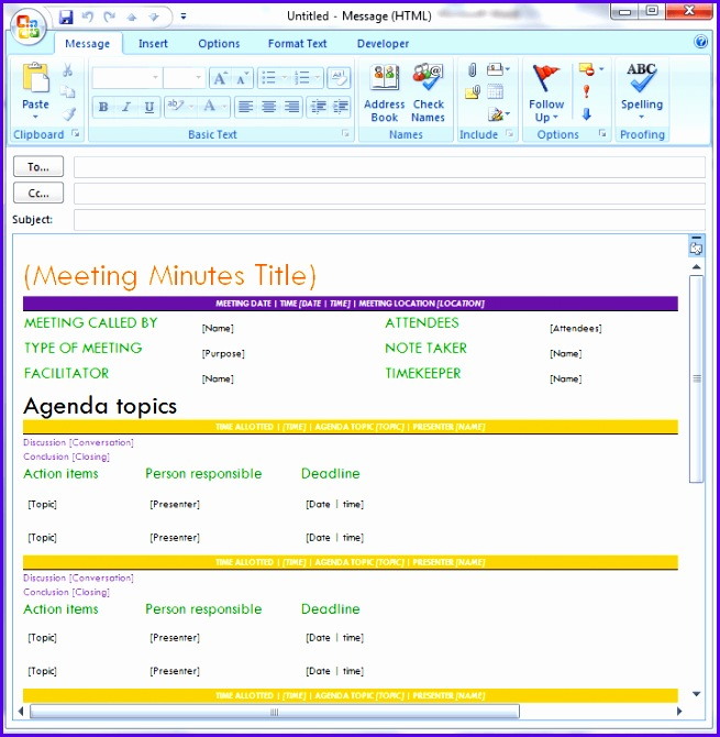 Pro Meeting Minutes Template for Email 655670