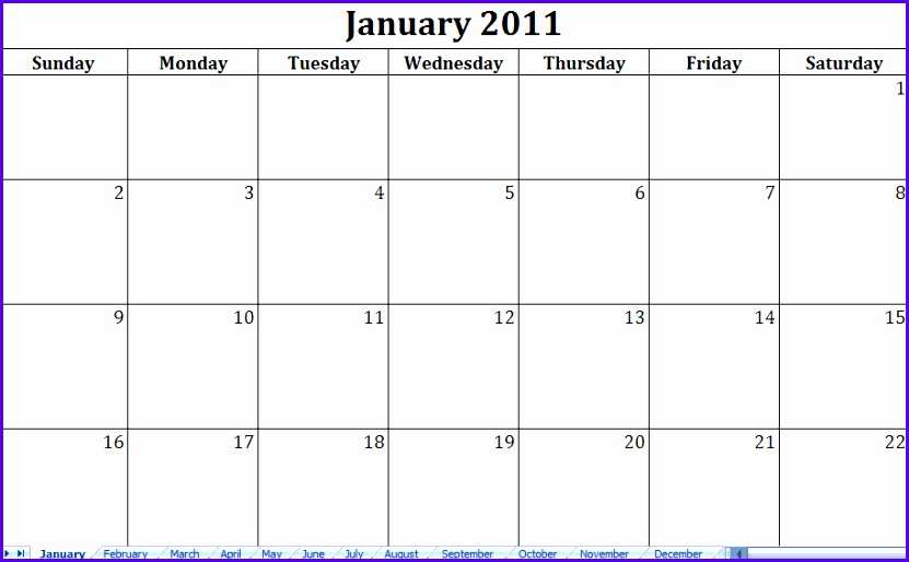 Blank Calendar Template Excel Choice Image Template Design Ideas