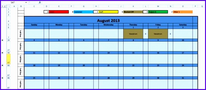 Printable Monthly Calendar 2016 Excel Template 669294