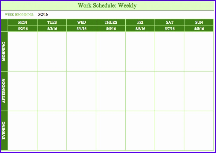Mon Sun Weekly Work Schedule Template 722511