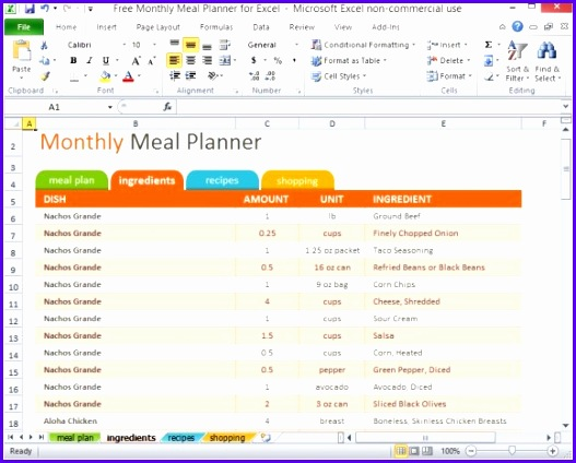 free monthly meal planner for excel 2