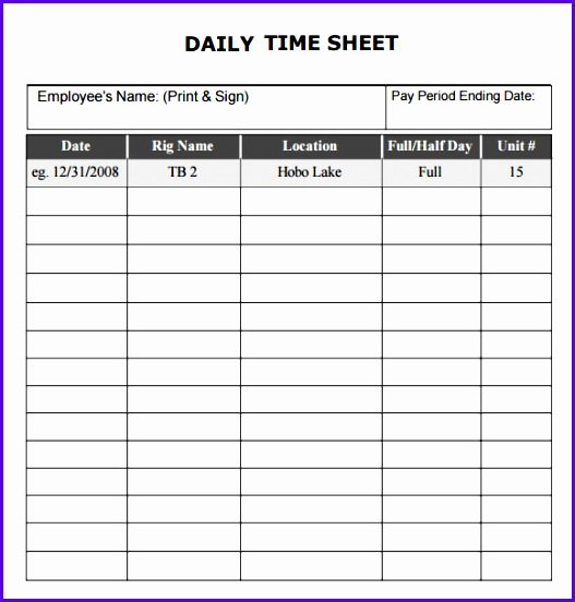Daily Timesheet Template 9 Free Download For Pdf Excel 527552