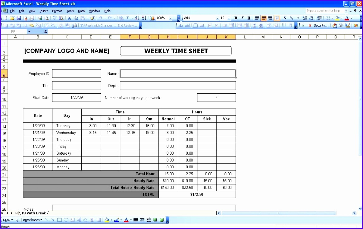 examples of timesheets on excel