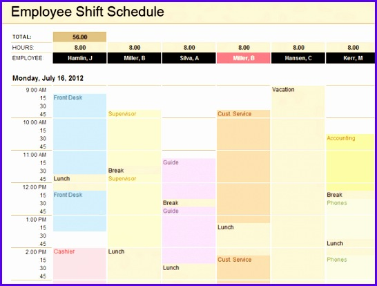 Employee Shift Schedule Excel Templates Free Download 546414