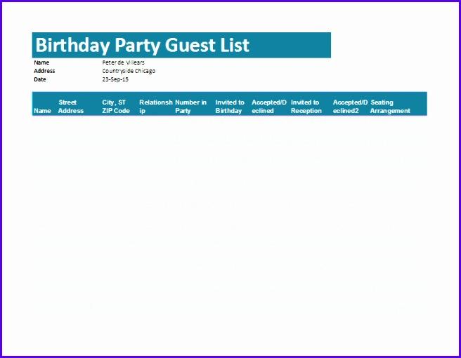 wedding guest list excel 656510