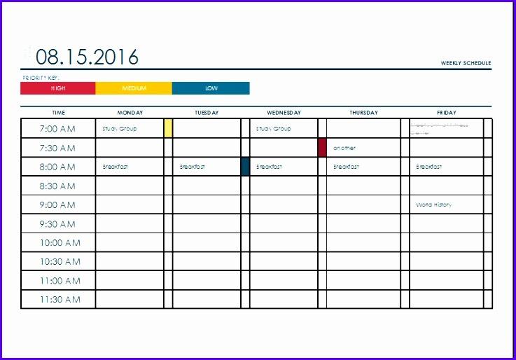 weekly calendar excel 737514