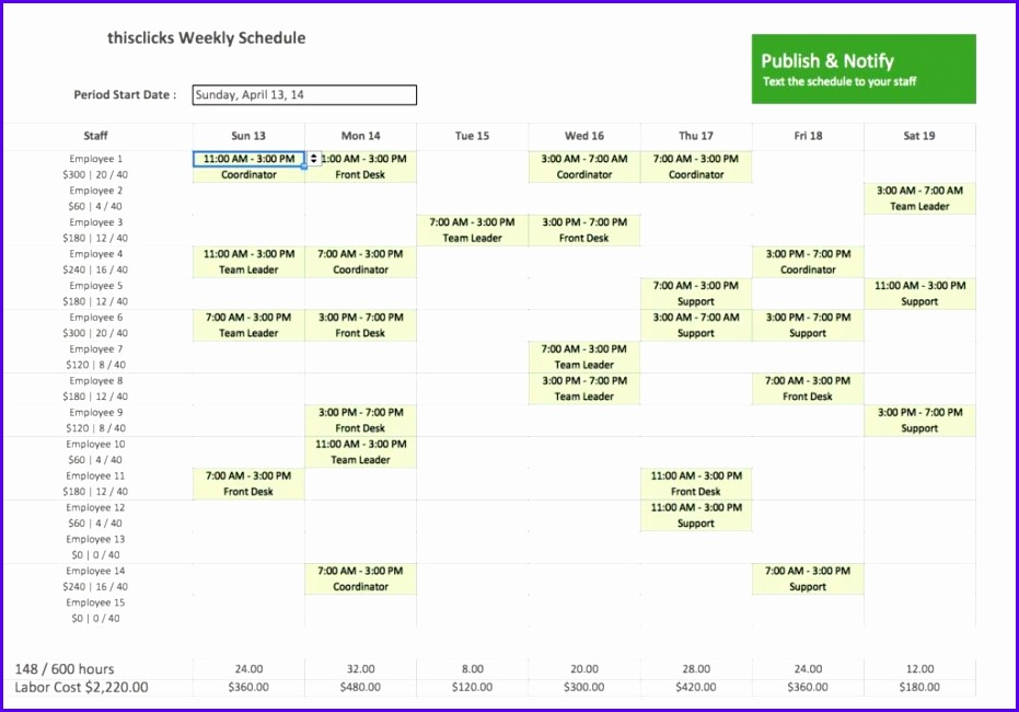 Monthly Employee Work Schedule Template Excel Weekly Employee Shift Schedule Template Excel And Weekly Work Schedule Template