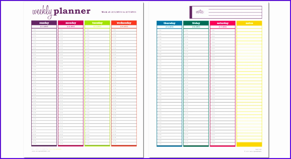 Basic Weekly Planner Excel Template 931509