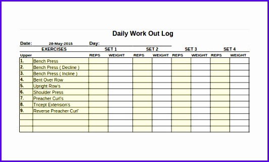 Free Workout Log Template Download 532322