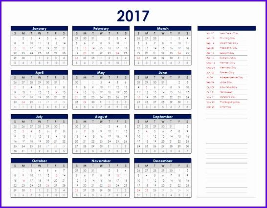 2017 Calendar Excel Uk 546426