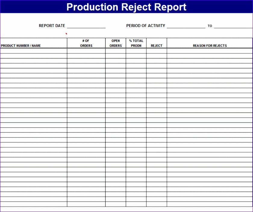product reject report page1